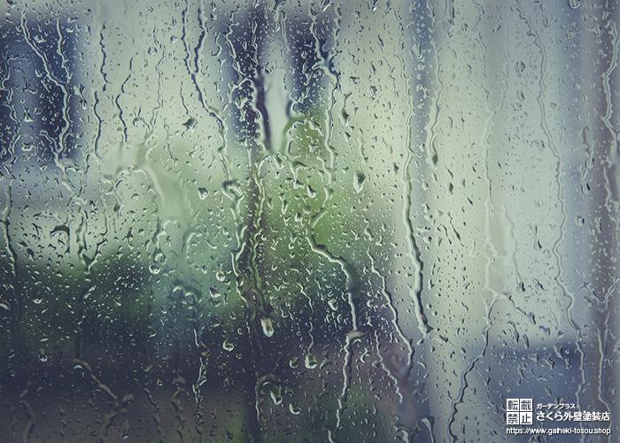 窓をうつ雨